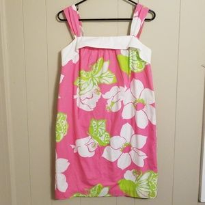 Lilly Pulitzer Pink & Green Floral Shift Dress 6